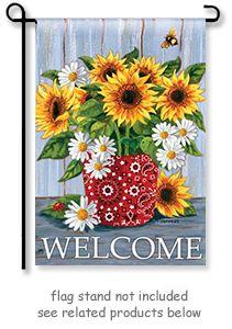 Bandana Sunflowers Garden Flag By Artist Jennifer Brinley For Breeze Art.  Garden Size Mini Flag