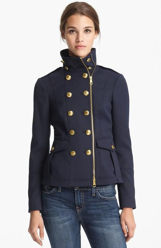 Fall style: Burberry Brit Navy Military Jacket | Fall Fashion