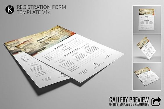 Registration Form Template v14 by Keboto on @creativemarket - free registration form template word