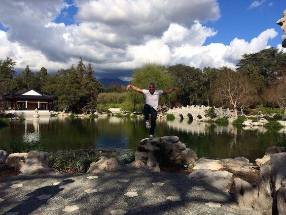 Cesar embracing his inner Karate Kid!