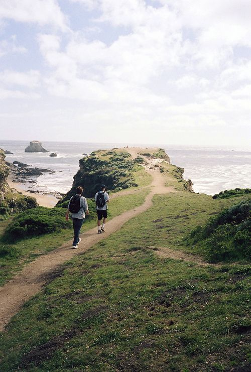 A hiking trail at Point Reyes in Marin County. Point Reyes is a prominent cape and popular Northern California tourist destination on the Pacific coast.