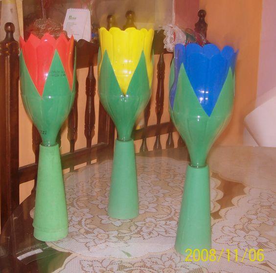 Faroles con botellas pl sticas farolitos reciclados los - Botellas con velas ...