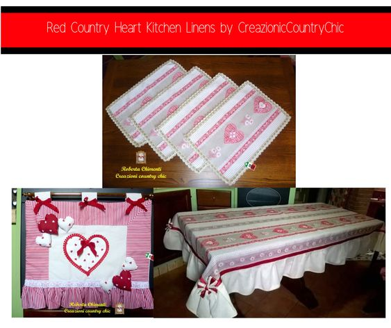 Red Country Heart Kitchen Linens by CreazionicCountryChic