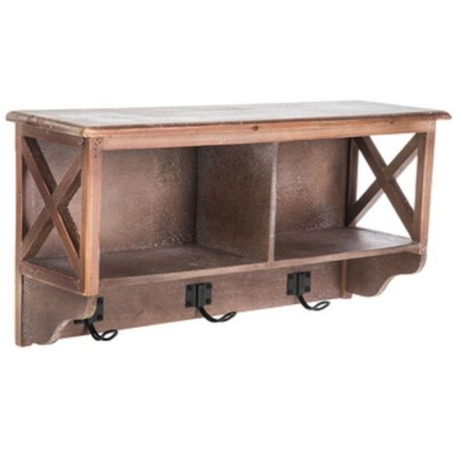 Details About Brown Cubby Wall Shelf With Hooks Entrance Way Bathroom Storage In 2020 Wall Shelf With Hooks Wall Shelves Shelves