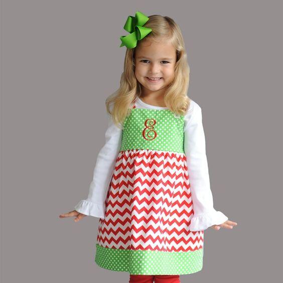 10/14  Green Dot & Red Chevron Button Dress