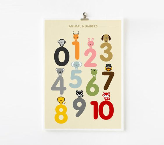 Animal Numbers Wall Art 8x10 poster by loopzart on Etsy