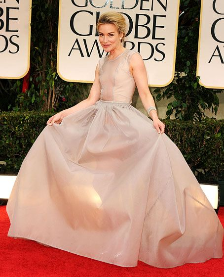 Piper Perabo in Theyskens' Theory -- it's a lot of dress and a very sheer bodice - be careful with this style as a bride.