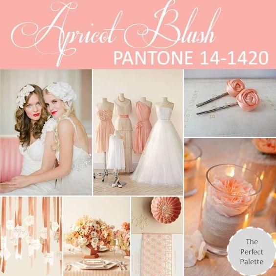 Este color es perfecto para tus damas de honor si te gustan los corales y rosas PANTONE Palette: Apricot Blush 14-1420.
