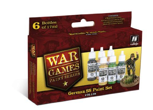 #PopularKidsToys Just Added In New Toys In Store!Read The Full Description & Reviews Here - Vallejo Model Color WWII Wargames German SS Paint Set (Set of 6) - War Games Paint Series by Vallejo – German SS Paint Set # 70158 Manufacturers Description: 6 Waterbased colours and painting guide for WWII miniatures of any scale. Colours have been carefully selected and tested to match colours used by the German SS during WW2. Recommended by The Plastic Soldier Company. Contain
