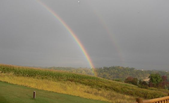 VIROQUA, Wisc. — A double rainbow is rare enough. But these photos seemed to show something even stranger. During a recent trip to Wisconsin, Mike Jacobs and Bill Wobbekind spotted twin rainbows af...