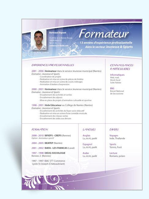 Exemple Cv Formateur Jpg 487 650 Modele Cv Exemple Cv Telecharger Modele Cv