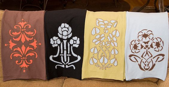 Scarves made using Dover stencils by dupcodeb on Flickr #stencils #stitching #applique #doverpinitcontest
