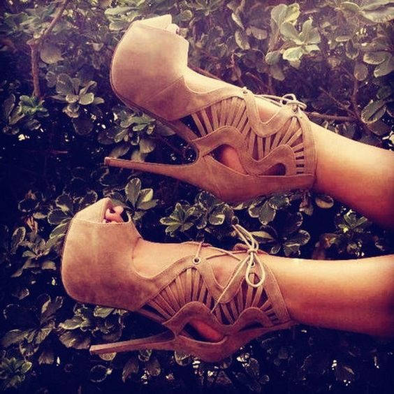 Lace-Up High Heel Boots #Boots #fashion #shoes