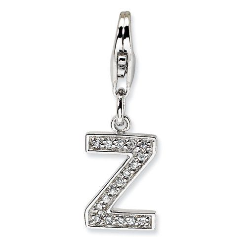 Sterling Silver CZ Letter Z w/Lobster Claw Clasp Clasp Charm Real Goldia Designer Perfect Jewelry Gift goldia. $16.45