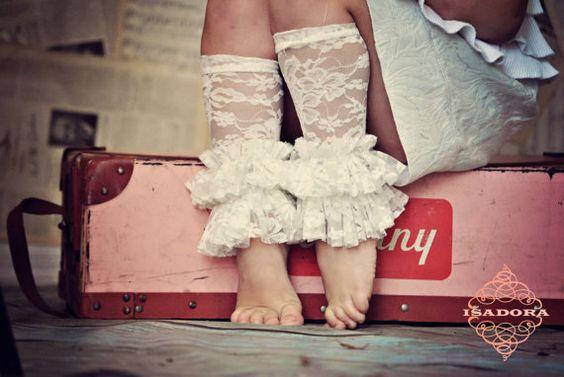 Girls lace ruffle legwarmers, love 'em