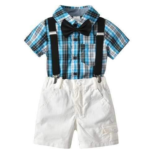 Moyikiss Studio Summer Fashion Little Boys Gentleman Casual Outfit Sets Short Sleeve Printed Shirt+Shorts 2Pcs