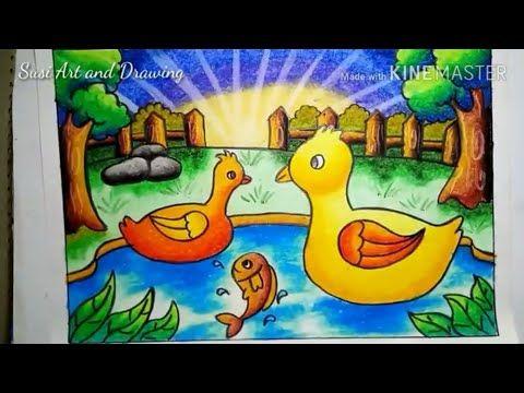 Mewarnai Dan Menggambar Bebek Di Kolam Dengan Cara Gradasi
