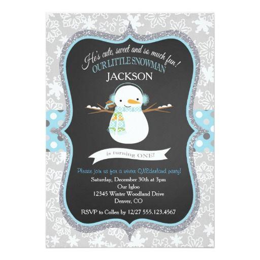 Snowman 1st Birthday Winter ONEderland Invitation