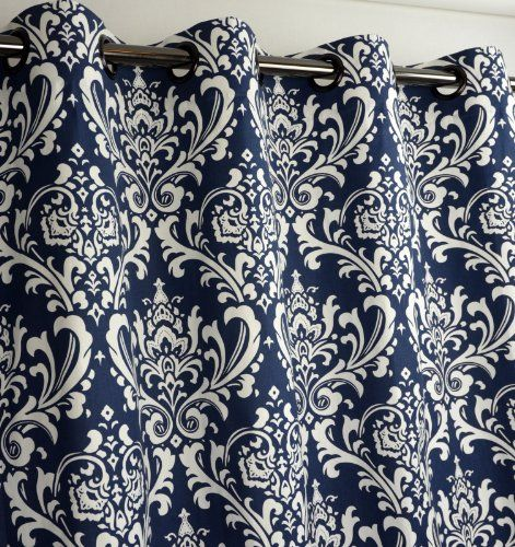 Navy Blue and White Damask Drape, One Grommet Top Curtain Panel ...
