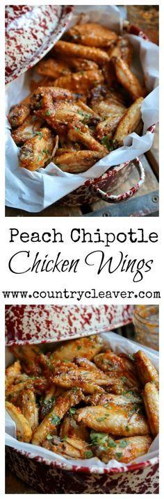 Peach Chipotle Chicken Wings Recipe.