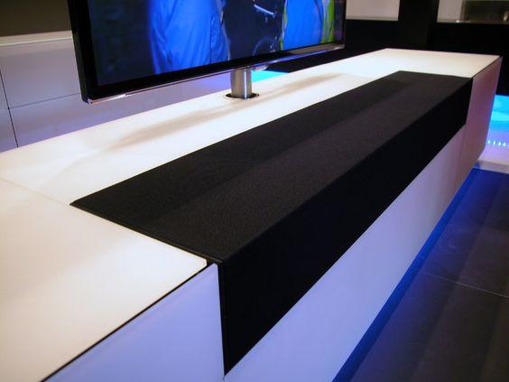 Audio doek op tv meubel om centre speaker te verbergen    Woonkamer   tv meubel   Pinterest