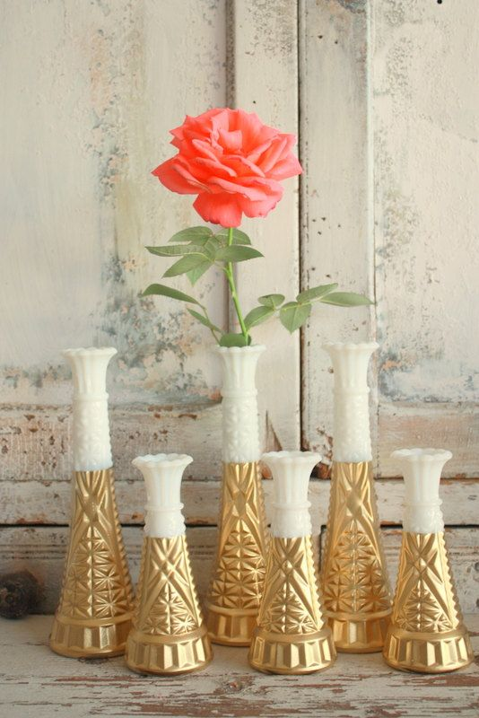 Gold dipped vase milk glass gold painted bud by thepaisleymoon: