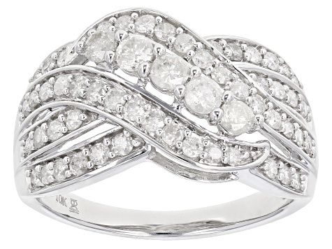 White Diamond 10k White Gold Ring 1 00ctw Cdg357 White Gold White Gold Rings White Diamond