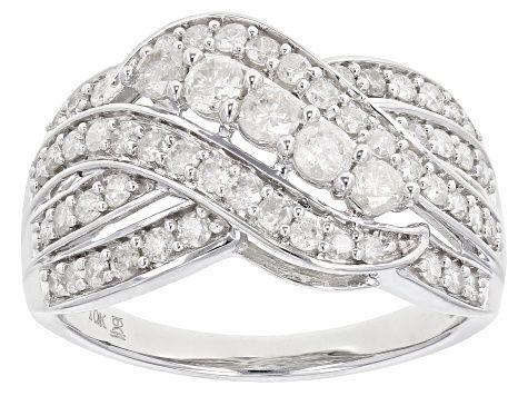 White Diamond 10k White Gold Ring 1 00ctw Cdg357 White Gold White Gold Rings White Diamond