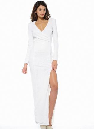 White V Neck Sequin Long Sleeve Maxi Dress - White v necks- Sleeve ...