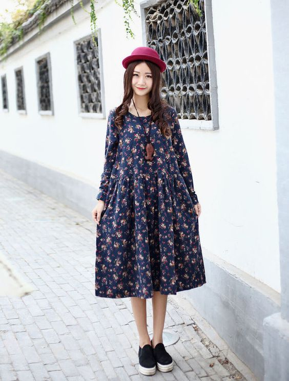Cotton dress Maxi dress Casual loose dress Printed by Luckywu