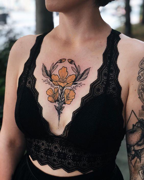 Girls Tattoos On Chest : girls, tattoos, chest, Tattoo