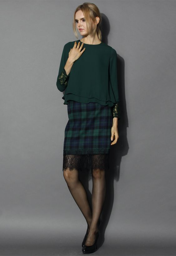 Lace Trimmed Tartan Pencil Skirt in Green - Bottoms - Retro, Indie and Unique Fashion