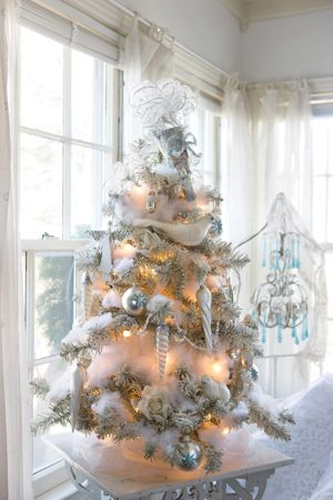 Use materials such as fiberfill and tulle to fill in the bare spots in your tree. This wee wonder is wrapped in winter white, from puffs of ...