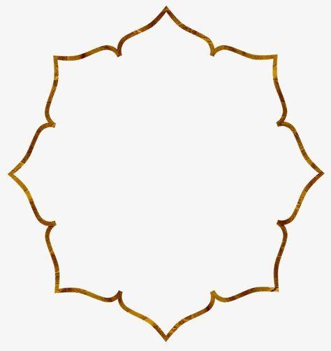 Gold Frame Pola Bunga Seni Islamis Geometri