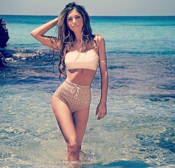 Swimwear: bikini high waisted bikini beige sexy sexy bathing suits swimsuits