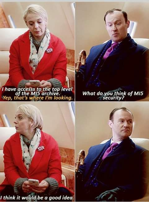 I hate Mary (I ship Johnlock and won't be happy till she dies) but look what she made Mycroft's face turn into.