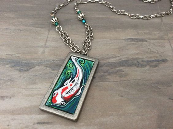 Koi Fish Necklace, hand painted, one of the kind piece of wearable art, miniature painting, metal bezel, metal chain, glass beads
