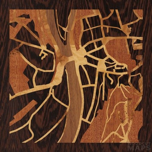 8x8 Woodcut Map of Essen, Deutschland