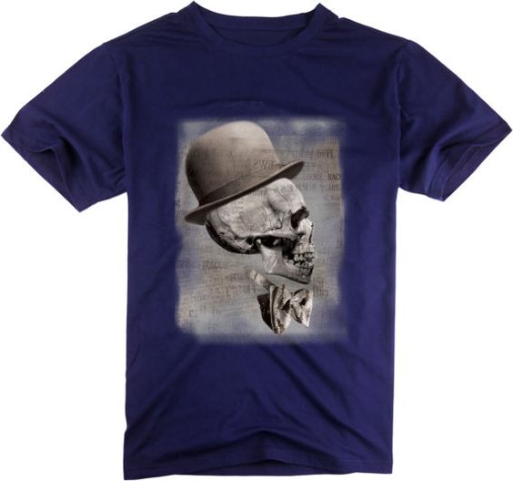 Funny Tee Skull T-shirt  Men's Casual Cotton T-Shirt Personalized t-shirt in Blue-88