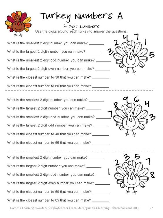 Number Names Worksheets thanksgiving math puzzles worksheets : Turkey Numbers math puzzles in Thanksgiving Math Games, Puzzles ...