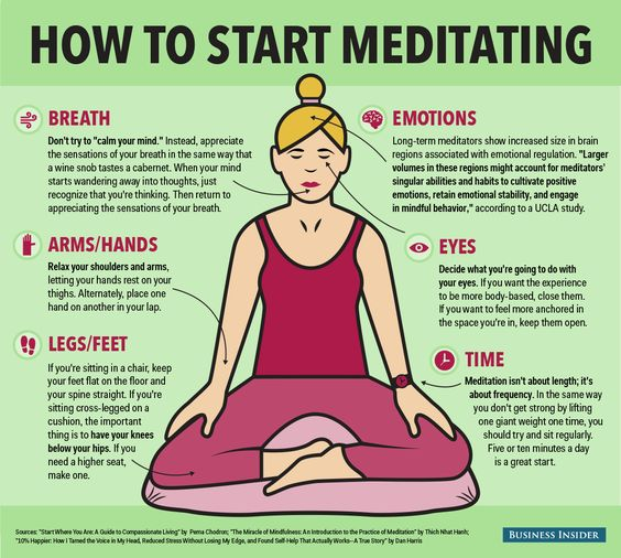 "How to Start Meditating by businessinsider: It can be intimidating to start...Enter this infographic, which combines advice from some of the best books on meditation, like ""The Miracle of Mindfulness"" by Thich Nhat Hanh, ""Start Where You Are"" by Pema Chodron, and ""10% Happier"" by Dan Harris. #Infographic #Meditation:"
