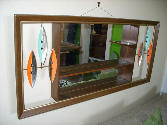 Mid century 1950 39 s tiki wall hanging surfer mirror shadow for Mirrored box shelves