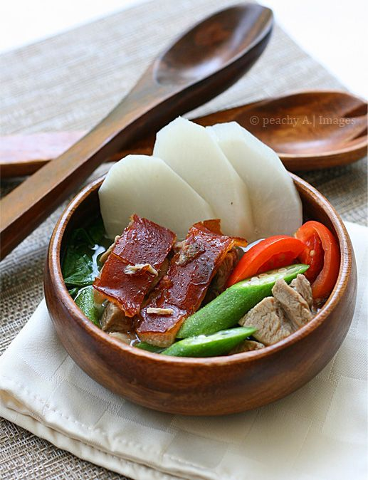 Sinigang na Lechon/Roasted Pork in Tamarind Soup - The Peach Kitchen