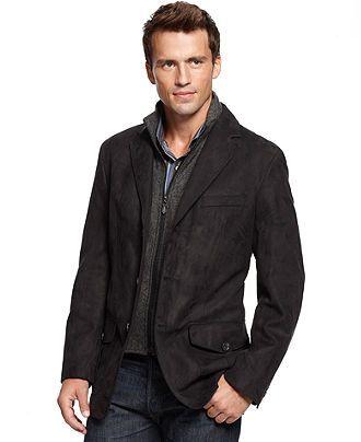 Tasso Elba Coat Microsuede Sportcoat - Mens Blazers & Sport Coats