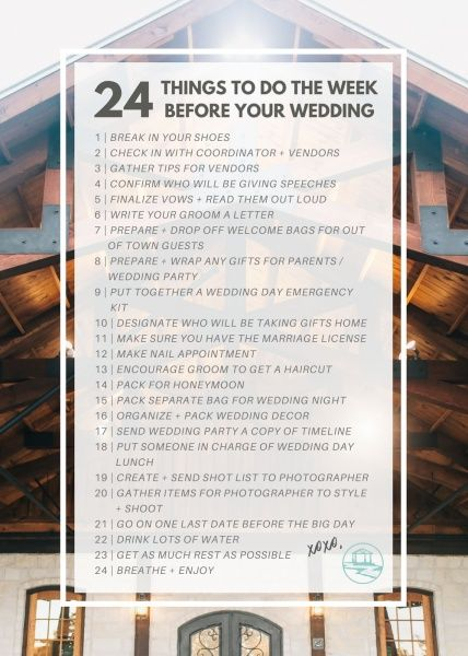 Week Before Wedding Day Tips From The Wedding Venue Experts Wedding Day Checklist Wedding Day Tips Stress Free Wedding
