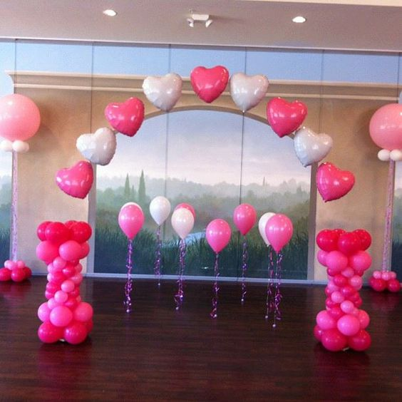 Pretty heart arch on fishing line and sparkle walkers on for Balloon decoration ideas youtube