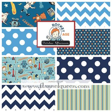 Fat quarter bundle rocket age flannel fabric by october for Space flannel fabric
