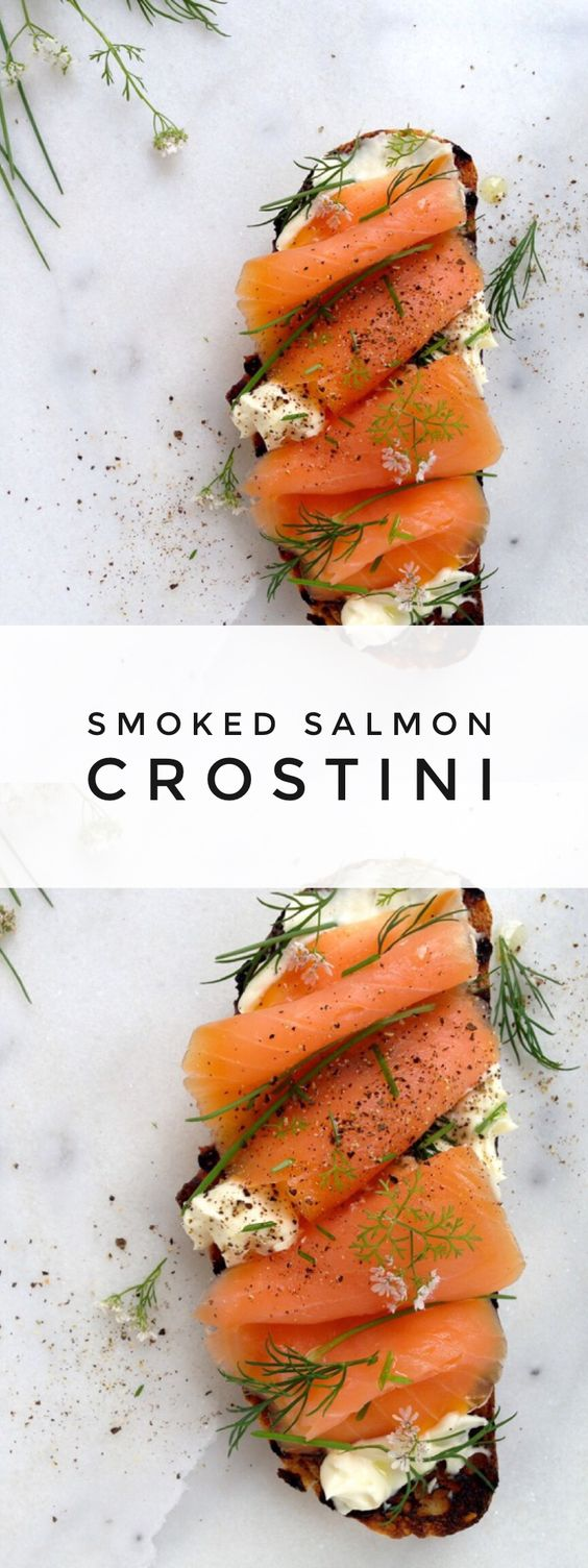Smoked Salmon Crostini   Recipe   Smoked salmon ...