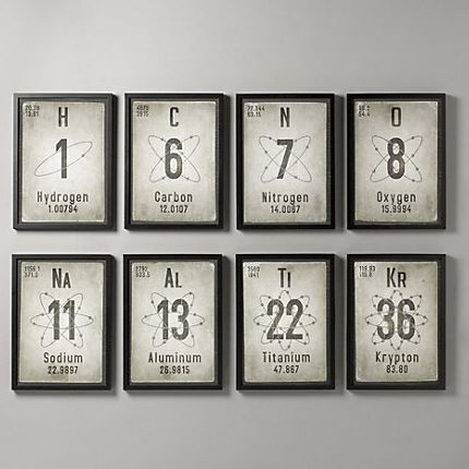 Periodic table printables,  inspired by Restoration Hardware's wall decor: