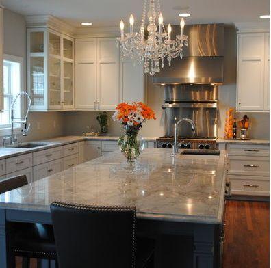 white cabinets, light grey counters, dark grey island   ♥ Home ...